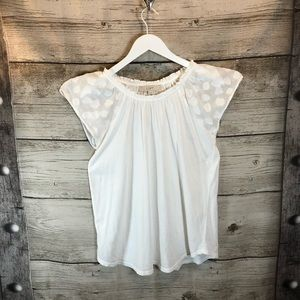 Loft White Leaf Embroidered Lace Cap Sleeve Shirt